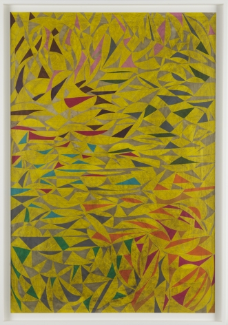 yellow painting with red, brown, and turquoise shapes by william o'brien