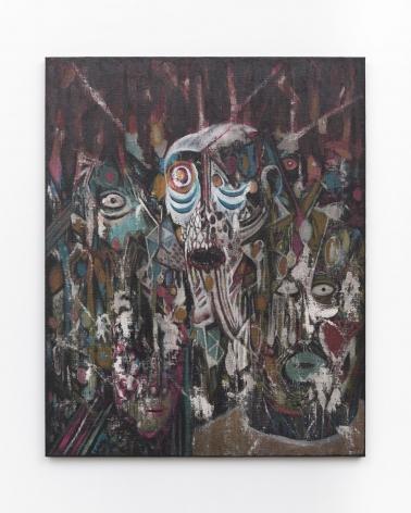 Rodel Tapaya, Riders of the Storm, 2019, Acrylic on burlap