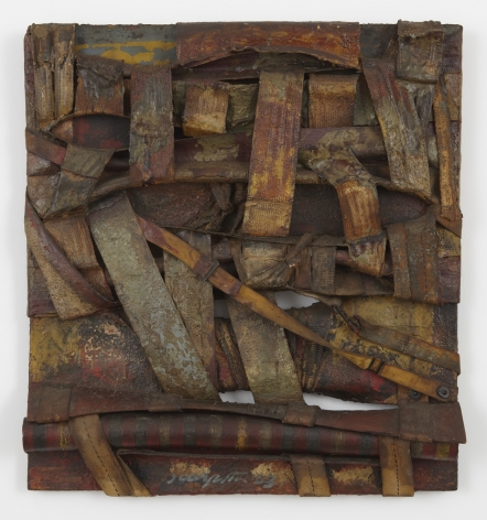 a mixed media artwork by italian arte povera artist salvatore scarpitta