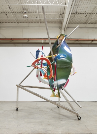 a sculpture of twisted lines and neon paint by the american artist frank stella