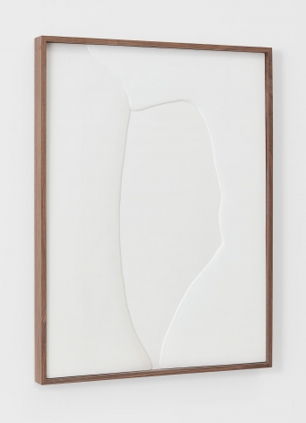 Untitled (Plaster Positive), 2015 [side view], Hydrocal in walnut frame