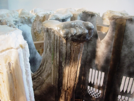 a detail of a sculpture by Diana Al-Hadid available to buy in a Chelsea gallery
