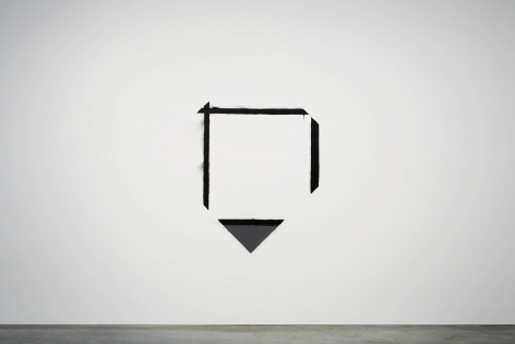 stencil with a triangle and three lines forming a square by marc bijl