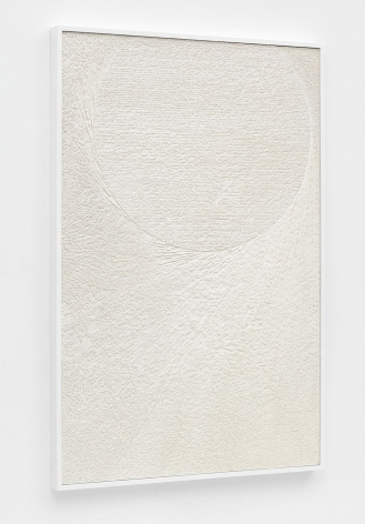Untitled (Etched Plaster), 2015 [side view], Pigmented hydrocal in lacquer coated maple frame