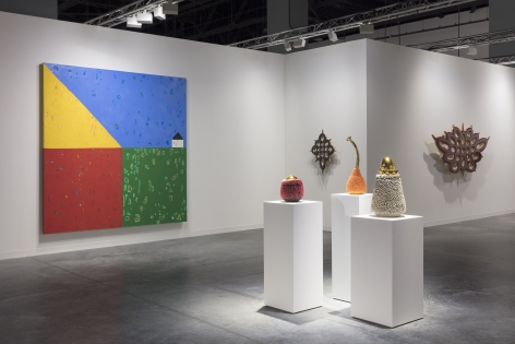 works by Donald Moffett and Haas Brothers at art fair