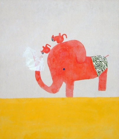 red elephant and yellow floor by chinatsu ban