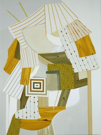 abstract painting with logs and green and brown shapes by kevin appel