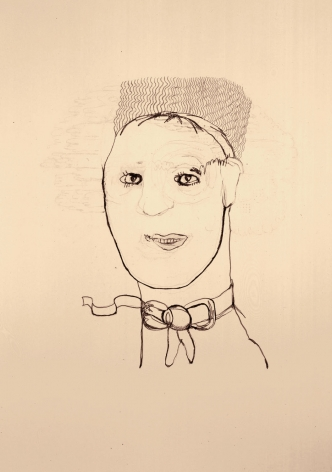 line drawing of a man with a bow around his neck by hannah van bart