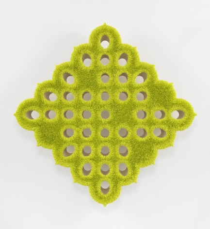 a chartreuse spore painting by donald moffett in an asymmetric geometric grid