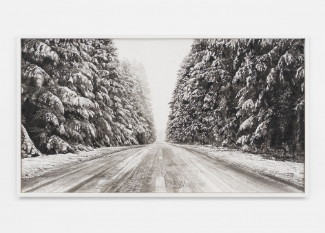 Snow Landscape (road), 2019, Black and white watercolor on Arches paper in wooden frame