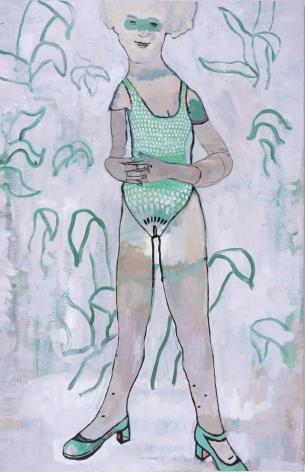 woman in a green bathing suit by hannah van bart