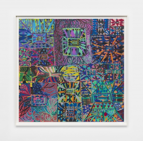 a colorful abstract artwork in colored pencil made by william j. o'brien