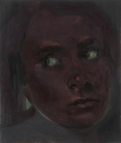 portrait of a woman in purple by kaye donache
