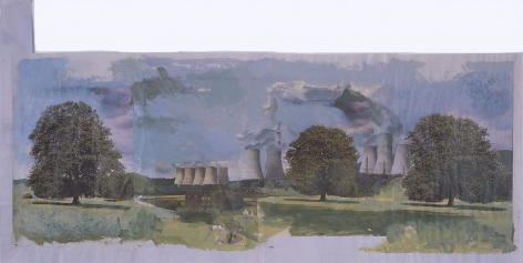landscape with power plant facilities by tony swain