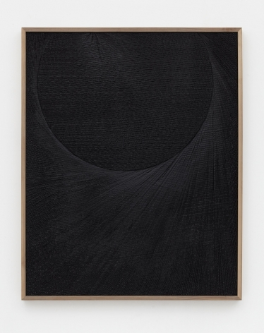 Untitled (Etched Plaster), 2015, Medium coated pigmented hydrocal in walnut frame
