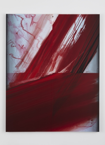 a vertical red gestural brushstroke painting using dye and water dispersed pigment on linen by barnaby furnas