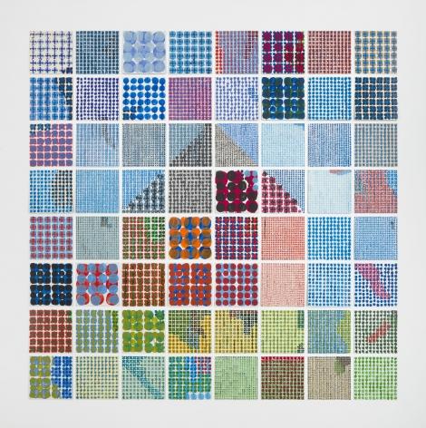 Large House: Dots, 1998, Enamel over silkscreen grid on baked enamel, steel plates
