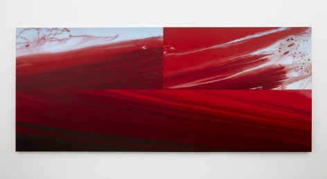 a water dispersed pigment and dye painting on linen of red gestures imitating a landscape by barnaby furnas