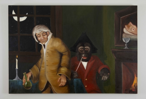 A Midnight Modern Conversation (Double Take), 1996, Oil on linen