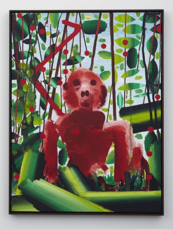 Red Monkey #1, 2012, Water dispersed pigments, dye and acrylic on linen