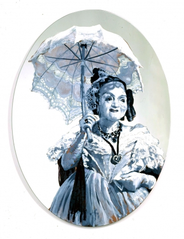 roundel of elderly woman with parasol by rachel feinstein