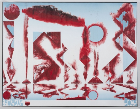 a red abstraction in acrylic on linen by barnaby furnas