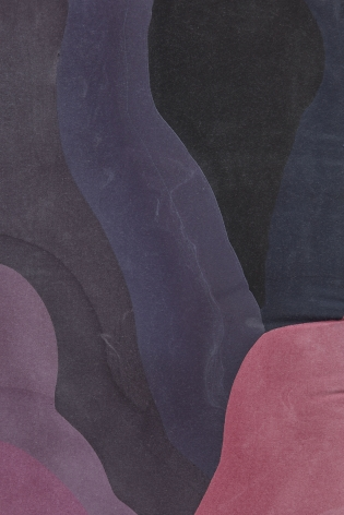 a detail of the curving, purple abstract painting by anthony pearson