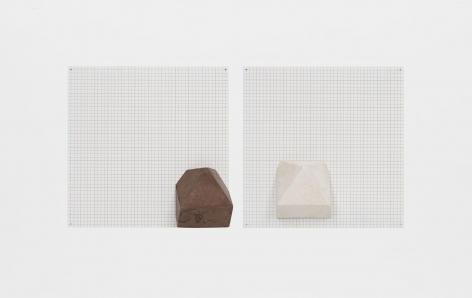 Untitled, 2000, Tinted casta concrete mounted over silkscreen grid on baked enamel, steel plates