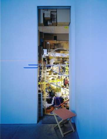 installation view of mixed media compilation by sarah sze