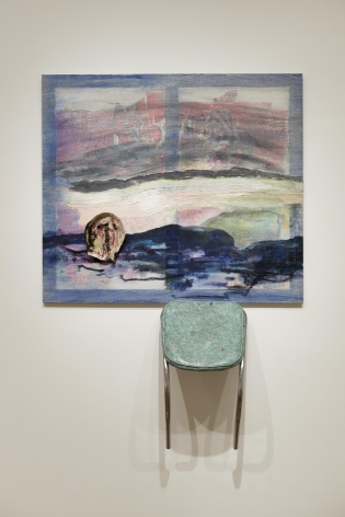 a chair sculpture with a painting by jessica jackson hutchins exhibited in a contemporary art gallery