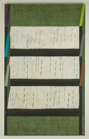 painting of three beds against a green background by jesse chapman
