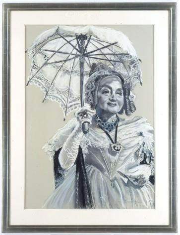 grey portrait of an elderly woman with a parasol by rachel feinstein