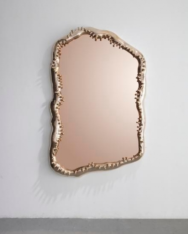 Mirror Sorvino, 2017, 	Cast bronze frame, peach mirror