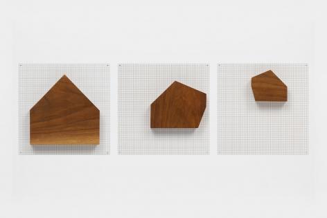 Untitled (Three Wood Houses), 2002, Wood on silkscreen grid over baked enamel, steel plates