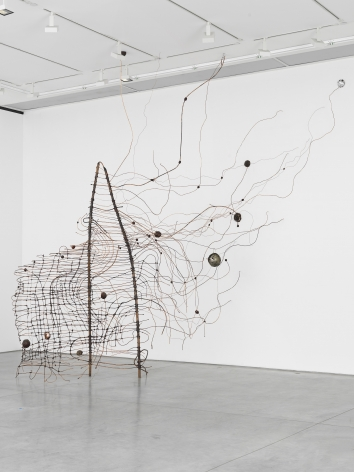 a copper, wax and other materials abstract wire sculpture by minnesota-based artist jay heikes