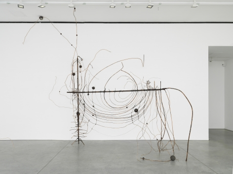 a wire sculpture by jay heikes exhibited in a new york city contemporary art gallery