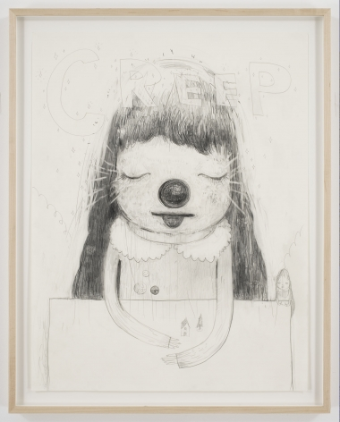 portrait of a girl with round nose, closed eyes, and open mouth by yoshimoto nara