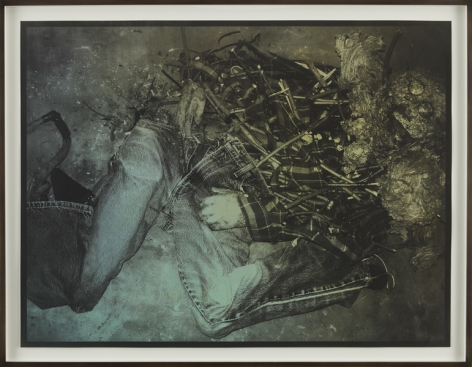 a print of a scarecrow like figure in black and white by jay heikes