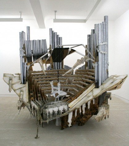an installation by Diana Al-Hadid of a mixed media contemporary art sculpture