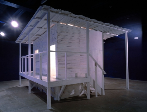 white house with deck installation by yoshimoto nara