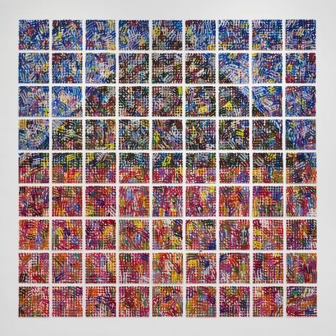 House: Dots, Hatches, 1998, Enamel on 81 baked enamel steel plates
