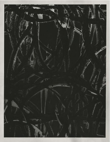 black and white painting by anthony pearson with gestural brushstrokes