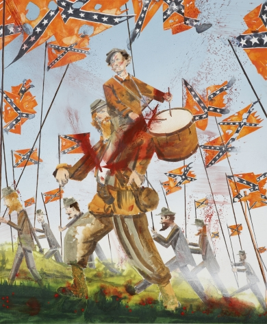 a contemporary painting of a civil war troop including a drummer boy by barnaby furnas