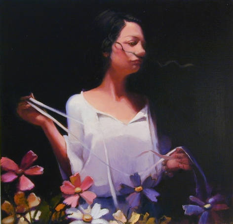 G. with Flowers, 2003, Oil on linen