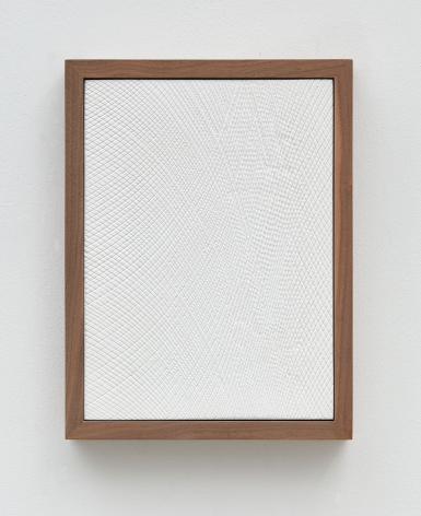 Untitled (Four Part Etched Plaster), 2015 [detail 4 of 4], Pigmented hydrocal and medium coated pigmented hydrocal in four walnut frames