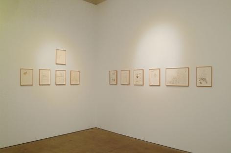 installation view of drawings by yoshimoto nara