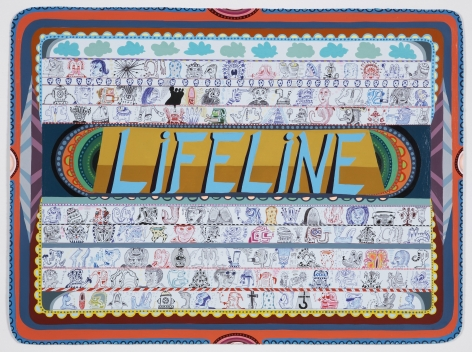 Life Line, 2008, Acrylic and ink on paper