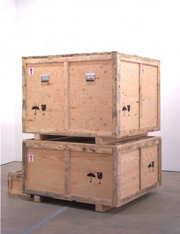 wooden crate installation by yoshimoto nara