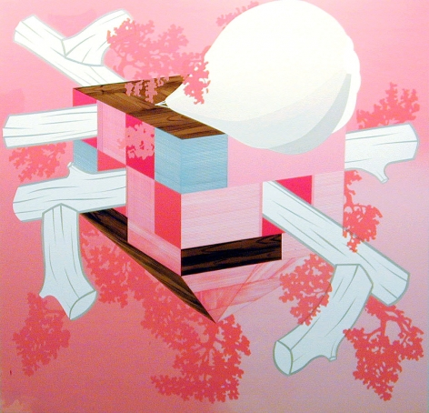 Abstraction by Kevin Appel with logs and pink and blue geometrics