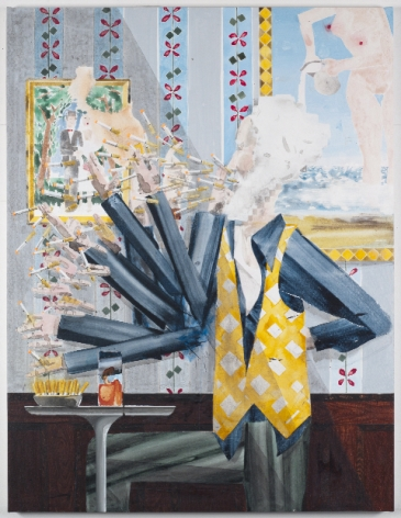 Smoking Man, 2011, Water dispersed pigments, colored pencil, seral transfer and acrylic on linen